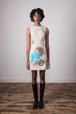 Danielle Dress - Taupe/Aqua Floral