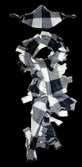 Black & White Plaid Fringe Scarf & Ear Loop Mask Set