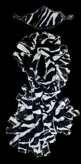 Zebra Fringe Scarf & Ear Loop Mask Set