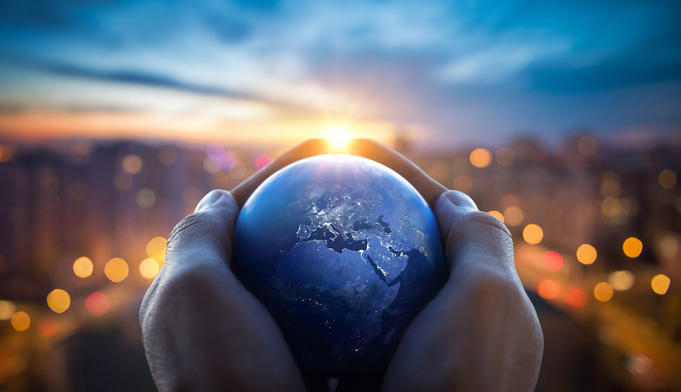 The globe Earth in the hands of man agai