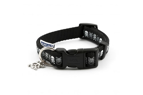 Ancol Black Skull Dog Collar