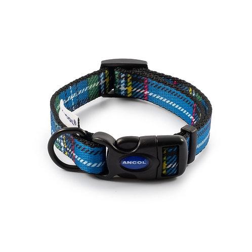 Ancol Blue Tartan Dog Collar