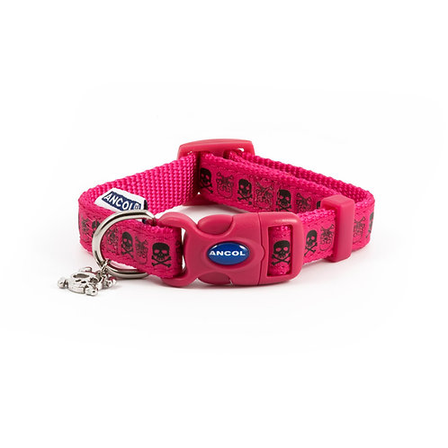 Ancol Pink Skull Dog Collar