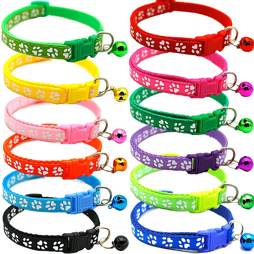 Cute Small Dog/Puppy/Cat Adjustable Paw Print Collar with Bell