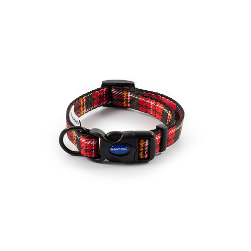 Ancol Red Tartan Dog Collar