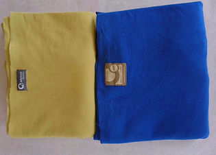 Rekbare doek - Babylonia tricot slen (olijf & koningsblauw ) - DraagGraag