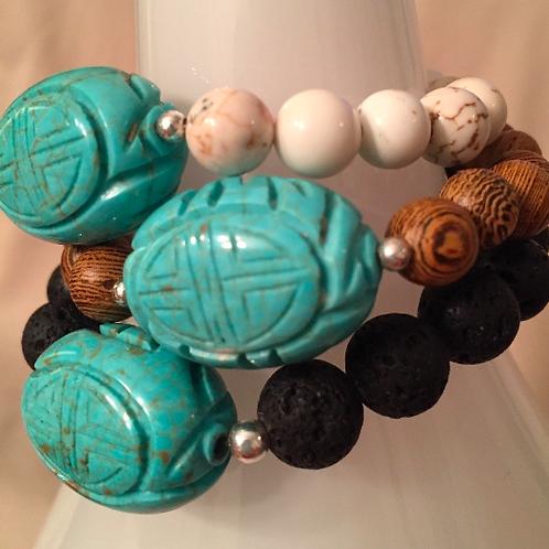 Carved Turquoise Howlite Bracelet