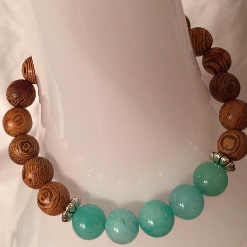 Amazonite & Wood Bracelet