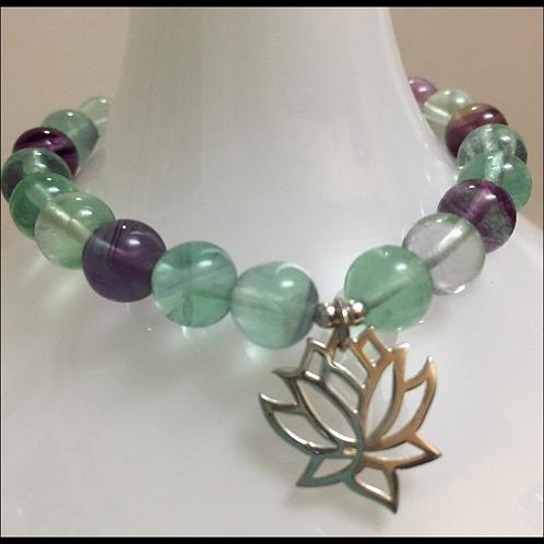 Rainbow Fluorite Lotus Bracelet