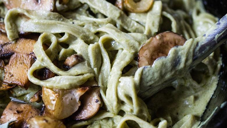 Roasted Mushrooms & Artichoke Pasta in an Artichoke Cream Sauce
