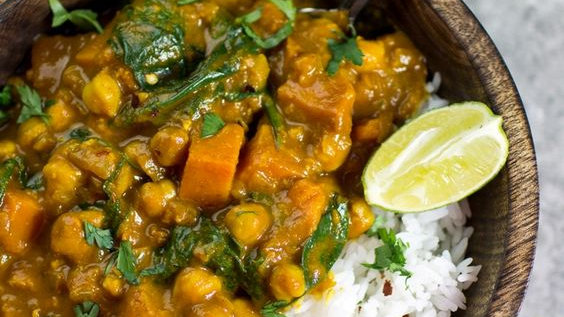 Sweet Potato, Chick Pea & Spinach Curry with Rice