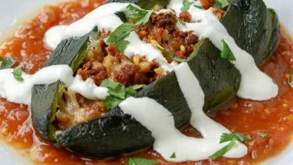 Roasted Chile Rellenos with Black Beans, Corn & Cilantro Lime Rice
