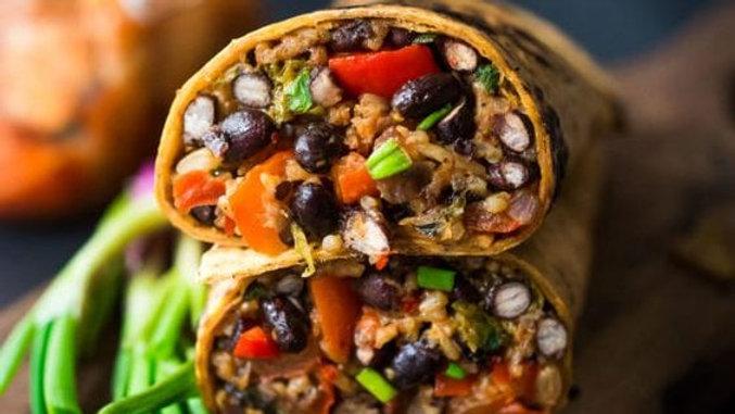 Whole Wheat Vegetarian Kimchi Burritos - or Add Meat