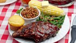 BBQ Baby Back Ribs with Baked Beans, Corn on the Cob, Coleslaw & Corn Bread