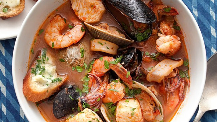 Cioppino Seafood Stew with Gremolata Toast