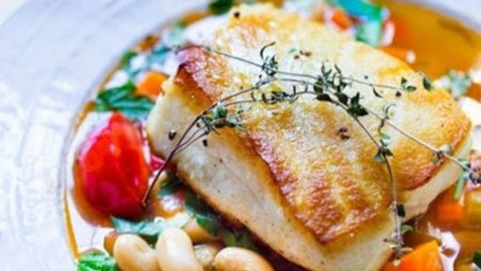 Sauteed Grouper over Tuscan White Bean Stew with a Truffle Vinaigrette
