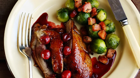 Roast Duck with a Fresh Rosemary & Port Cherry Sauce