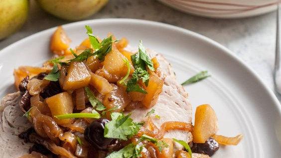 Rosemay, Thyme & Sage Encrusted Pork Loin with Fresh Spiced Pear Chutney