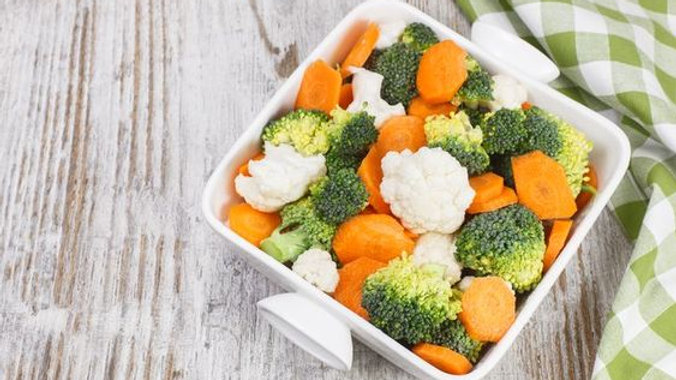 Side of Steamed Broccoli, Cauliflower & Carrots with Fresh Herb Compound Butter