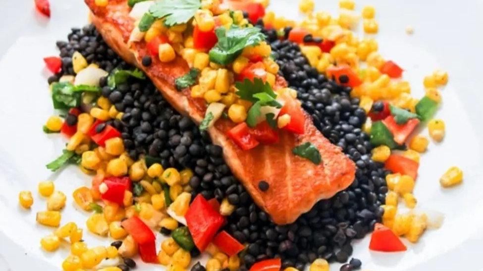Cilantro Lime Salmon with Fresh Roasted Corn Salsa