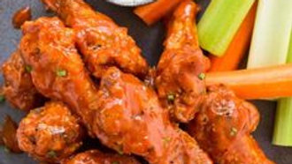 10 Large Buffalo Wings with Celery & Carrots - Choice of Ranch or Blue Cheese