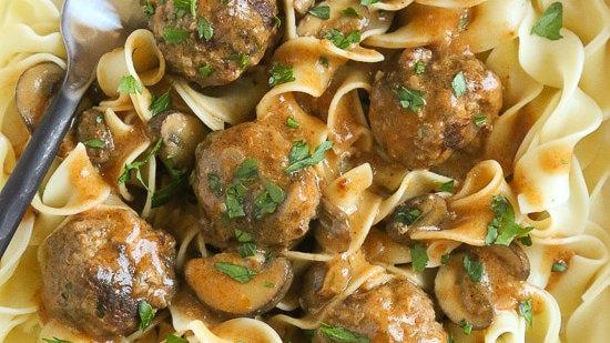 Turkey Meatballs with Roasted Mushrooms