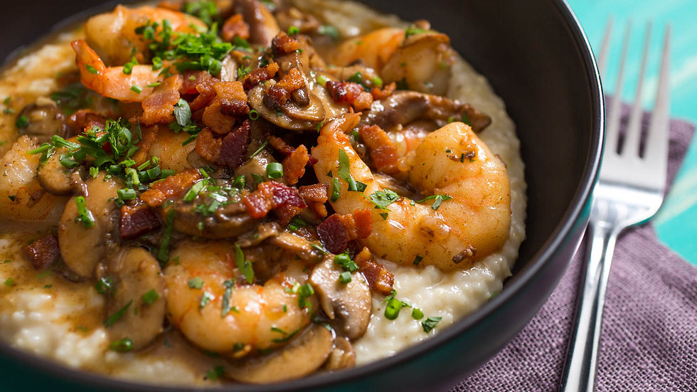 Shrimp & Gruyere Cheese Grits with Bacon & Mushrooms with Fresh Focaccia!