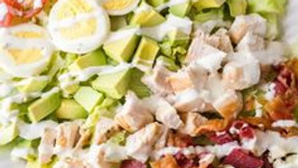 Dinner Sized Grilled Chicken Breast Cobb Salad with a Warm Bacon Vinaigrette