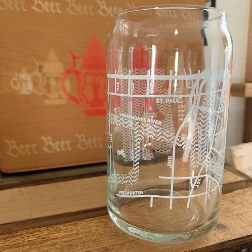 Milwaukee Map Beer Glass