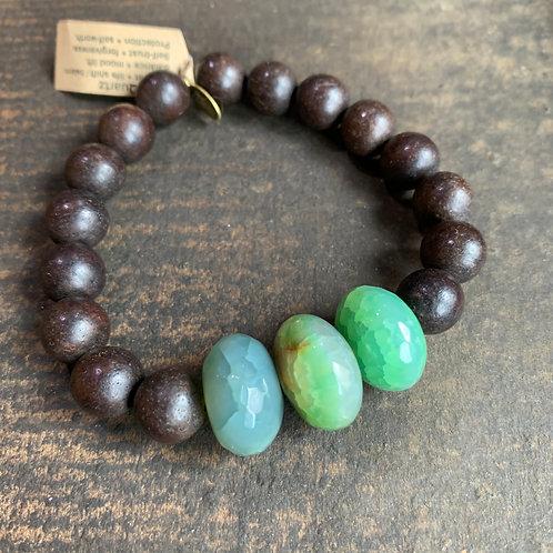 Infinite Warrior Green Quartz + Wood Bead Bracelet