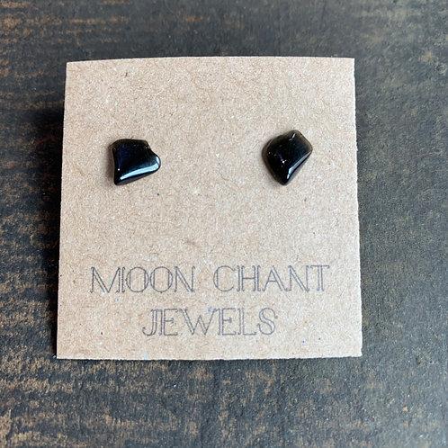 Apache Tear Crystal Stud Earrings