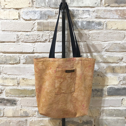 Light Tan + Berry Flecked Shoulder Tote
