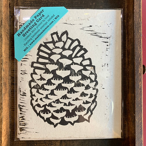 Handmade Paper Greeting Card - Pine Cone