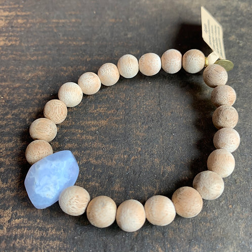 Infinite Warrior Blue Lace Agate Stone with Sandalwood Diffuser Beads