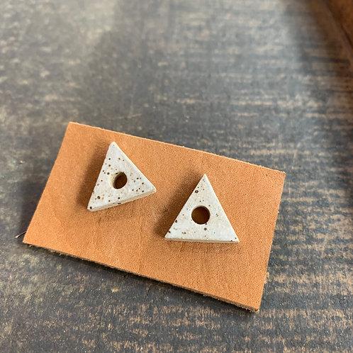 Ceramic Speckled Triangle Studs