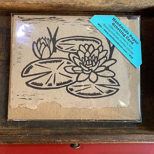 Handmade Paper Greeting Card - Lily Pad