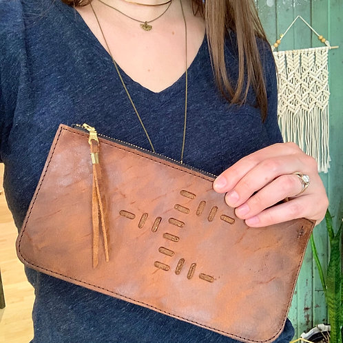 Top Grain Leather Long Wallet - Punched Snakebite