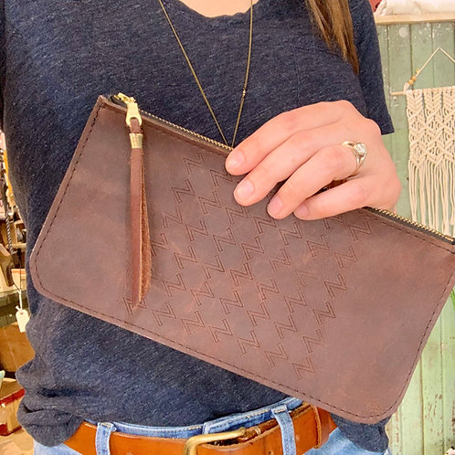 Top Grain Leather Long Wallet - Chocolate Zzz's