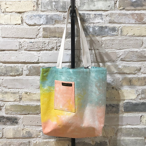 Pale Aqua, Peach & Yellow Shoulder Tote