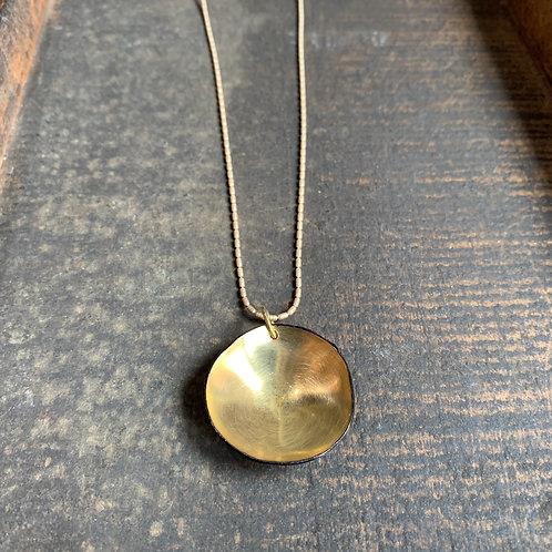 Hammered Brass Disc Necklace