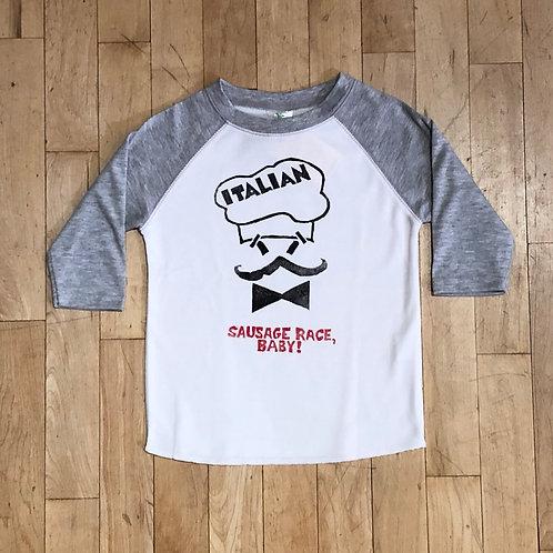 Italian: Sausage Race Baby! Baseball T-Shirt
