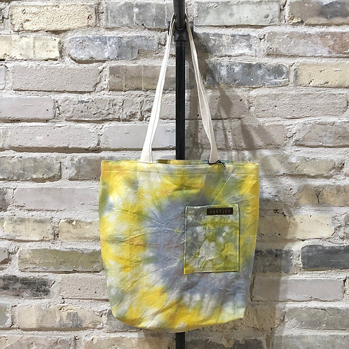 Yellow, Sky Blue & Sage Tie Dye Shoulder Tote
