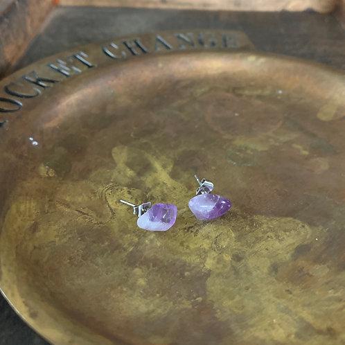 Amethyst Crystal Stud Earrings