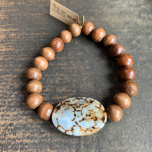 Infinite Warrior Lace Agate + Wood Bead Bracelet