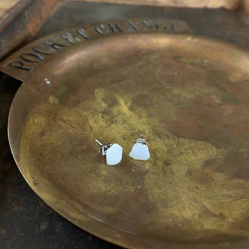 Pink Opal Stud Earrings
