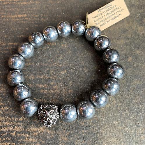 Infinite Warrior Platinum Hematite Bracelet