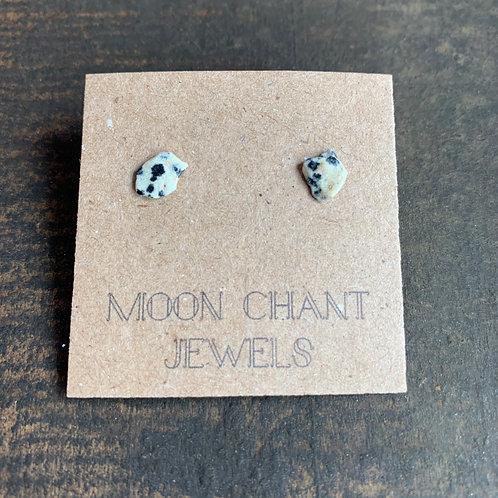 Dalmation Jasper Crystal Stud Earrings