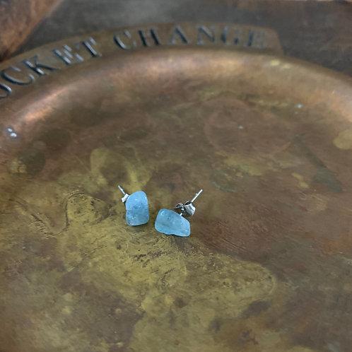 Aquamarine Crystal Stud Earrings