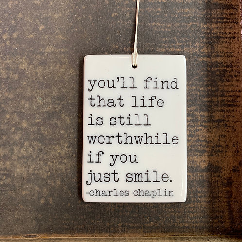 Porcelain Wall Tag - Just Smile
