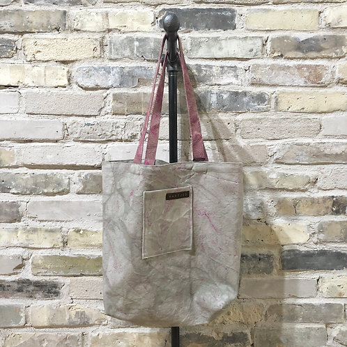 Pale Grey-Sage + Berry Flecked Shoulder Tote with Mauve Straps